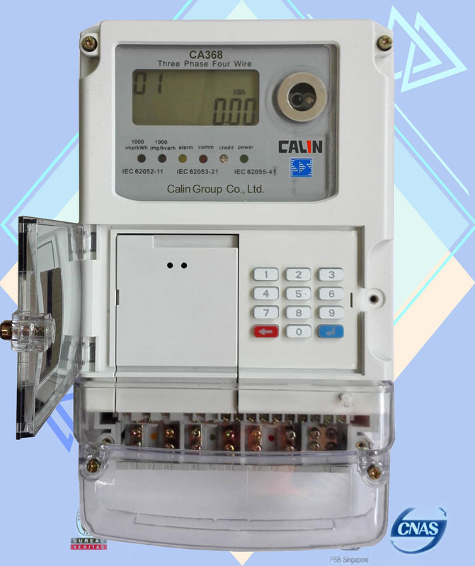 10mm Cable STS Prepayment Meter Keypad Based 3 Phase Electric Meter
