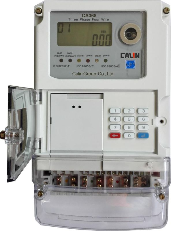 3 Phase Commercial Wireless Electricity Meter , Class 1S STS Prepaid Meters