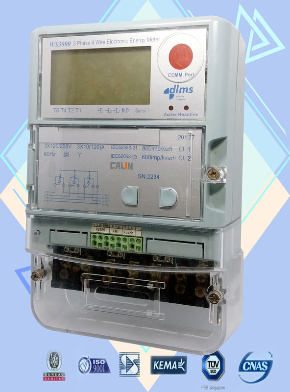 Automated Reading Commercial Electric Meter , Three Phase Electricity Meter