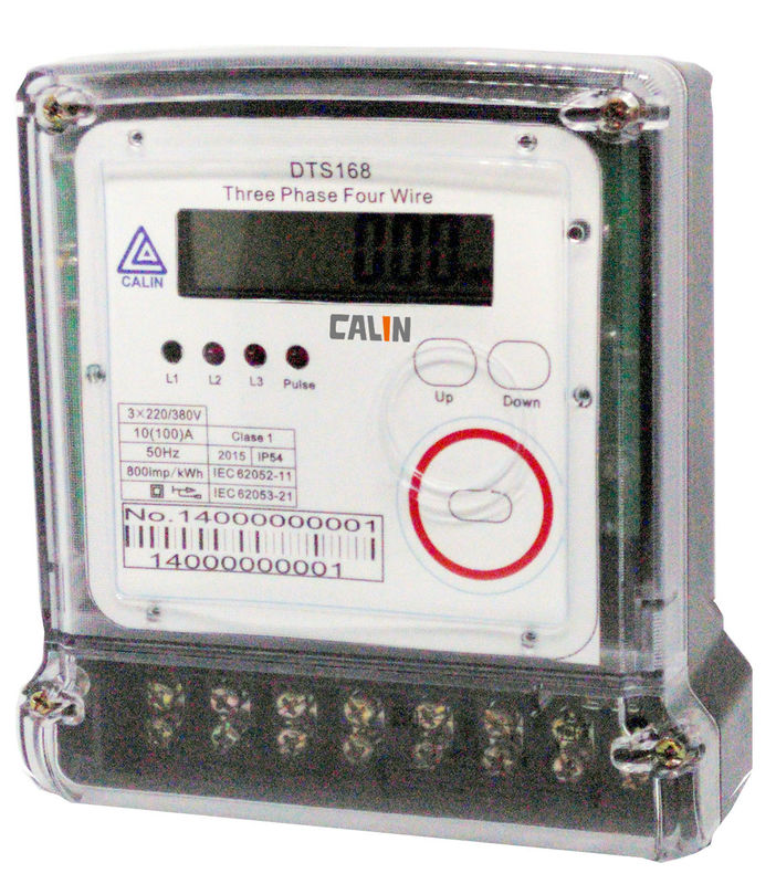 Three Phase Electricity Meter : Compact phase electric meter transparent cover prepaid