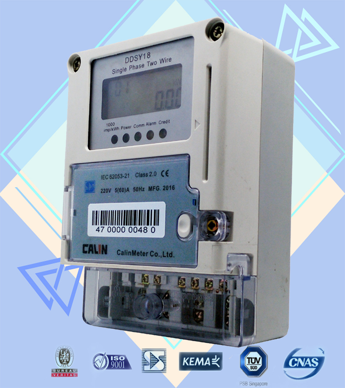 Card Prepayment Wireless Electricity Meter , 6 Digits Single Phase ...
