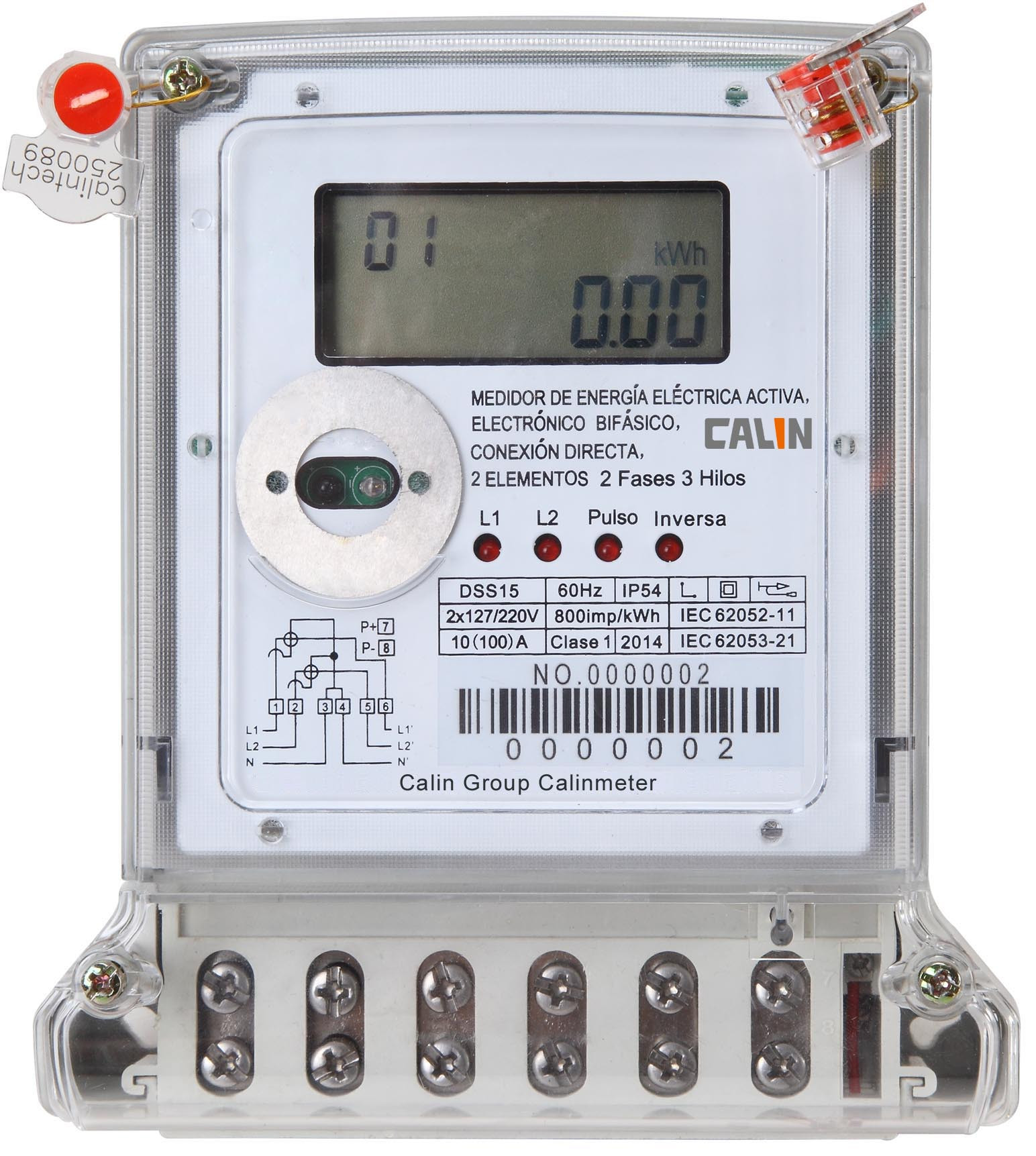 Commercial 2 Phase Electric Meter 3 Wire Electricity Prepaid Meter