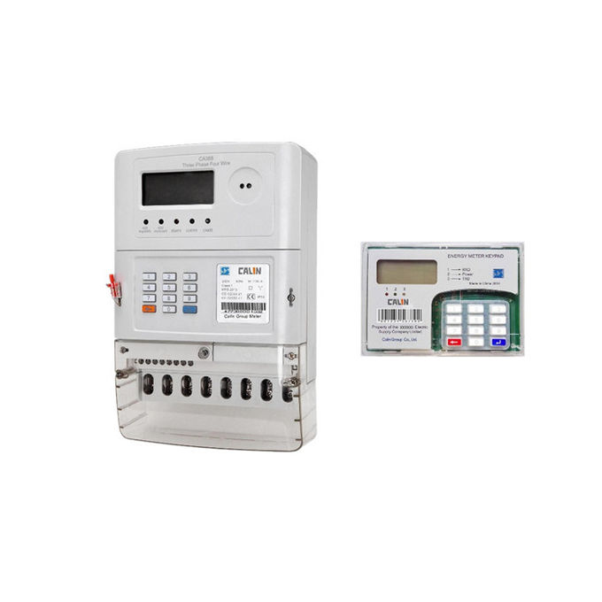 20 Digits Token Three Phase Energy Meters , Low Credit Warning Tamper Protection